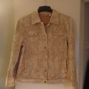 Isaac Mizrahi LIVE! Tan & White Quilted Jacket